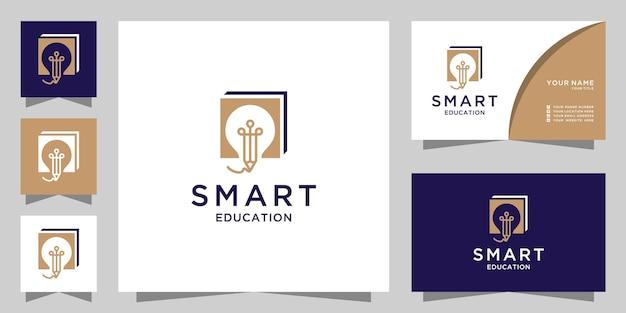 Pädagogisches logo mit glühbirnenstift und buchgestaltung