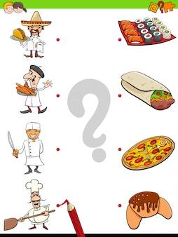 Pädagogisches matching game mit köchen und essen