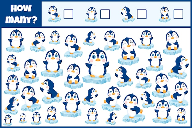 Pädagogisches mathematisches spiel zähle die pinguine zähle wie viele pinguine zählspiel für kinder