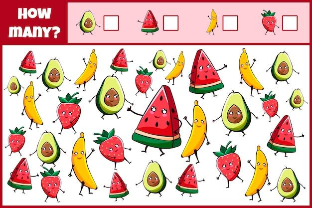 Pädagogisches mathematisches spiel zählen sie die anzahl der kawaii früchte zählen sie, wie viele kawaii früchte zählspiel für kinder zählen