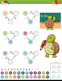 Pädagogisches mathematisches subtraktions-puzzlespielspiel für kinder