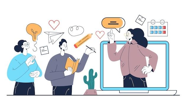 Pädagogisches online-webseminar-tutorial abstraktes illustrationskonzept