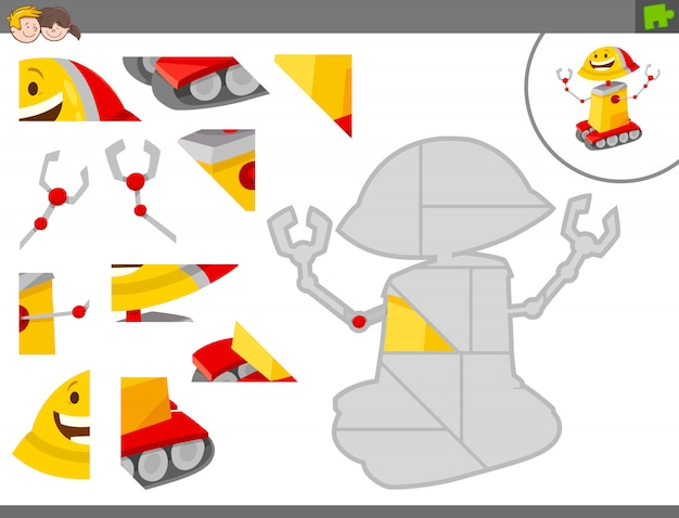 Pädagogisches puzzle-spiel für kinder mit roboter