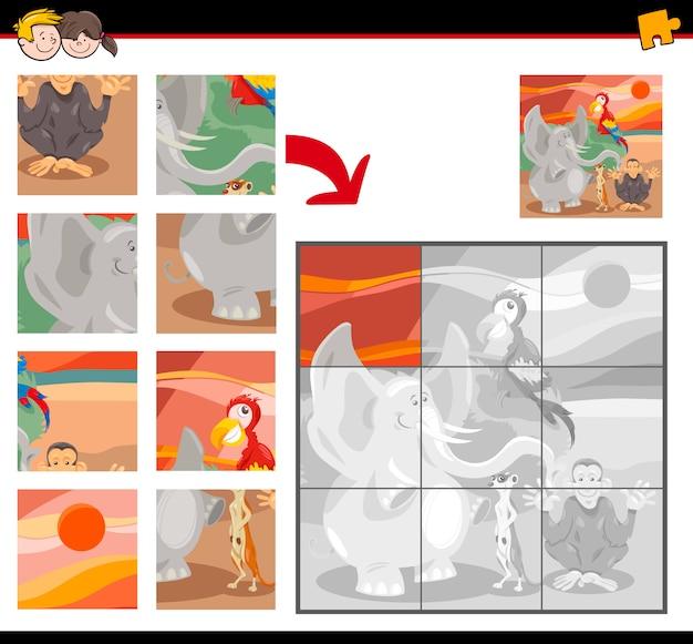 Pädagogisches puzzle-spiel mit wilden tieren