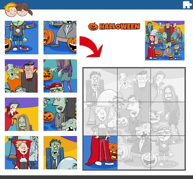 Pädagogisches puzzlespiel mit haloween-zeichentrickfiguren
