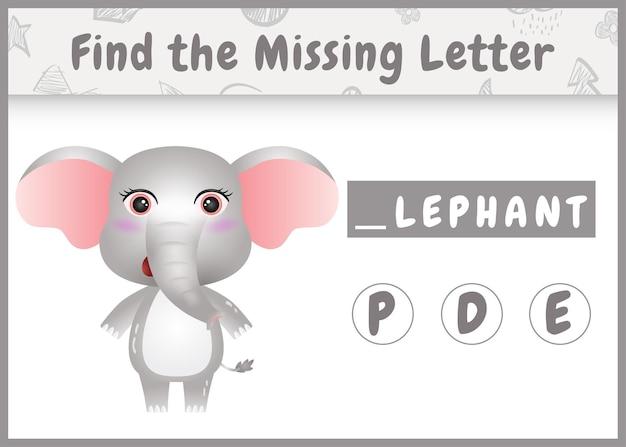 Pädagogisches rechtschreibspiel für kinder finden fehlenden buchstaben mit einem niedlichen elefanten Premium Vektoren