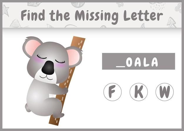 Pädagogisches rechtschreibspiel für kinder finden fehlenden buchstaben mit einem niedlichen koala