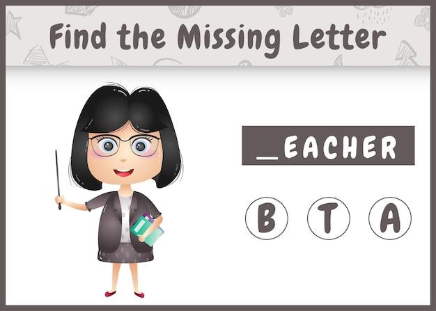 Pädagogisches rechtschreibspiel für kinder finden fehlenden buchstaben mit einem niedlichen lehrermädchen
