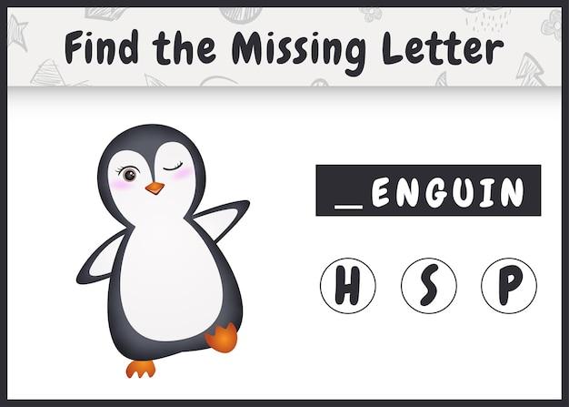 Pädagogisches rechtschreibspiel für kinder finden fehlenden buchstaben mit einem niedlichen pinguin