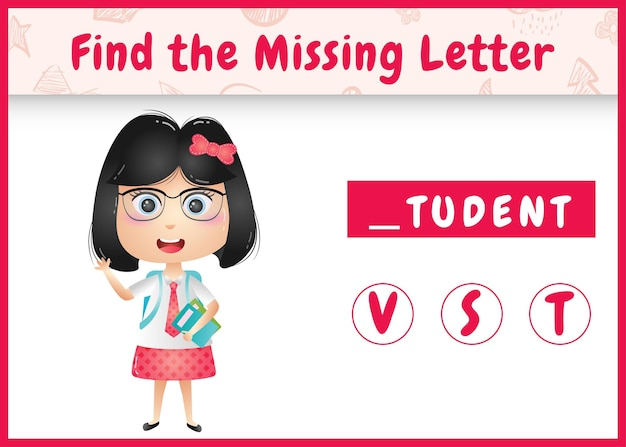 Pädagogisches rechtschreibspiel für kinder finden fehlenden buchstaben mit einem niedlichen studentenmädchen