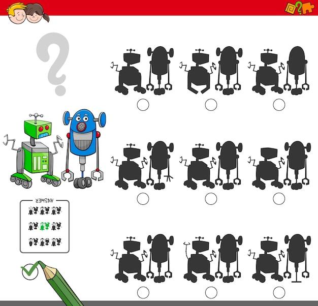 Pädagogisches schattenbildspiel mit robotern