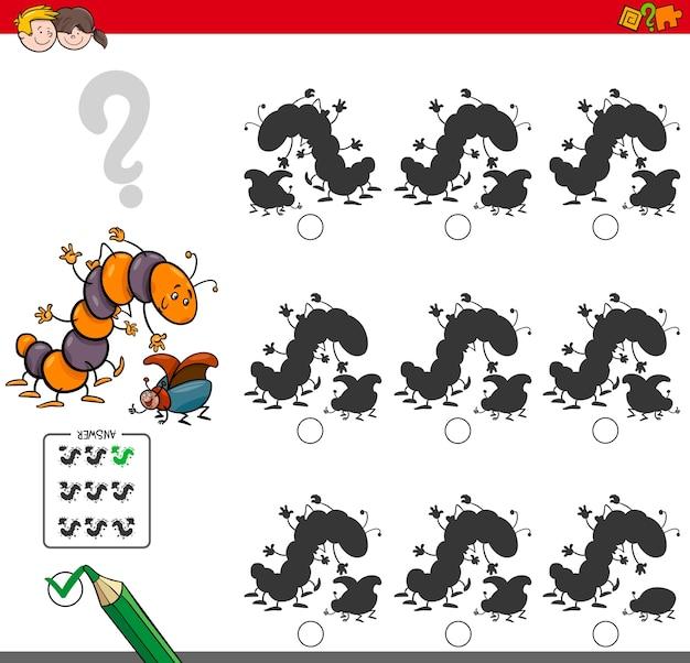Pädagogisches schattenspiel mit insektencharakteren