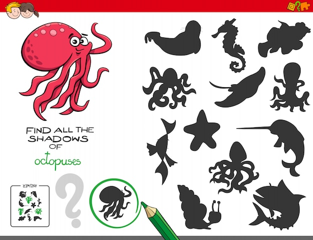 Pädagogisches schattenspiel mit kraken