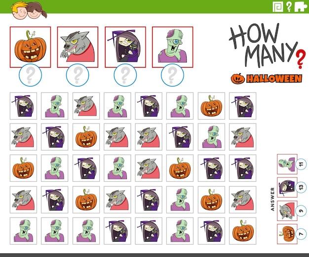Pädagogisches zählspiel für kinder mit halloween-zeichentrickfiguren
