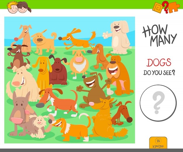 Pädagogisches zählspiel für kinder mit hunden