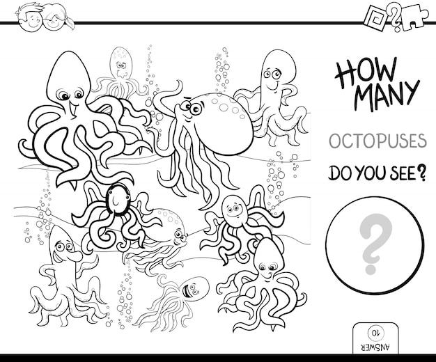 Pädagogisches zählspiel mit kraken-malbuch