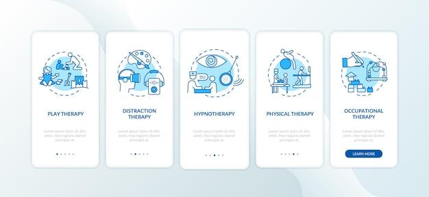 Pädiatrische palliativversorgung onboarding mobile app seite bildschirm mit konzepten