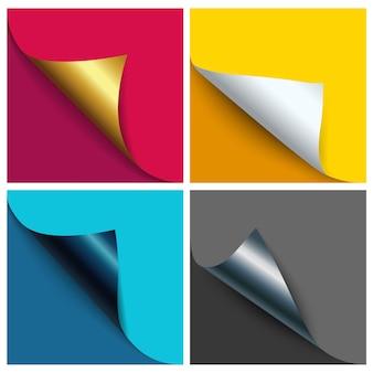 Page curled corner in metallic-farben und neutralweißem papier