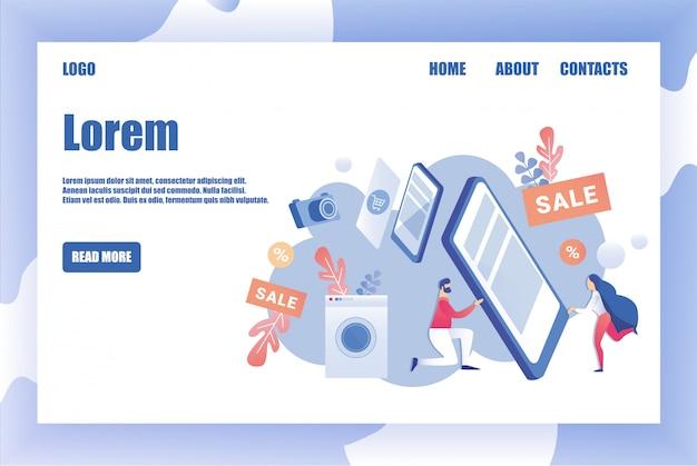 Page design template für haushaltsgeräte shop
