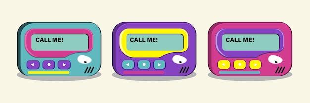 Pager. vintage 90er jahre elektronik messenger. vektorillustration.