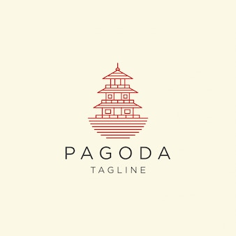 Pagode japan tempel logo icon design vorlage illustration
