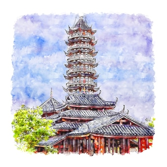 Pagode shanghai china aquarell skizze hand gezeichnete illustration