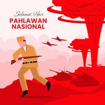 Pahlawan-helden-tageshintergrund mit soldat, der waffe hält