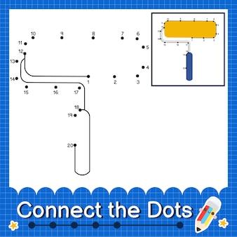 Paint roller kids verbinden das punktarbeitsblatt für kinder mit den nummern 1 bis 20