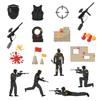 Paintball icons set