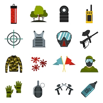 Paintball icons set.