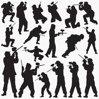 Paintball-spieler-silhouetten