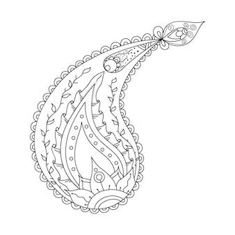 Paisley orientalische linie dekoratives gestaltungselement hand gezeichnete gekritzelblumenmusterillustration