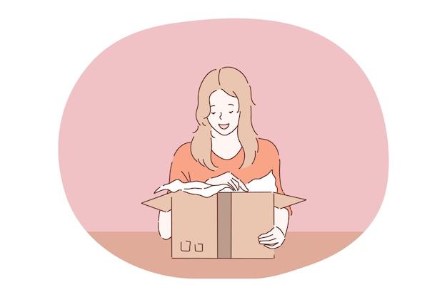 Paket, bestellung lieferung, urlaub geschenk in box-konzept.