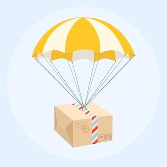 Paket, das vom himmel mit fallschirm herabfliegt. lieferservice