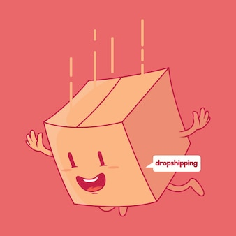 Paket fällt. dropshipping, verkauf, versand design-konzept
