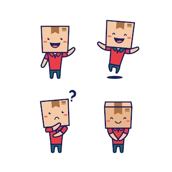 Paket karton paket box mann charakter menschen mit box kopf als lieferung express kurier maskottchen vektor