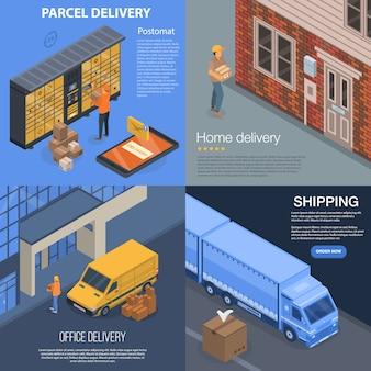 Paket-lieferungs-fahnensatz. isometrischer satz der paketlieferungs-vektorfahne für webdesign