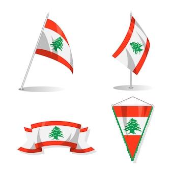 Paket mit flachen libanesischen flaggen