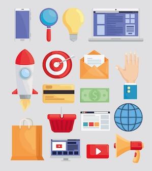Paket mit marketingsymbolen
