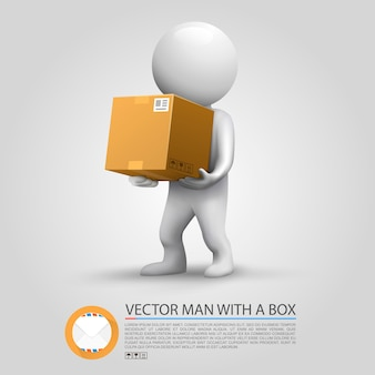Paket versenden. mann, der ein paket hält. vektor-illustration