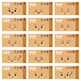 Pakete emoji-vektor-icons set isoliert auf weißem hintergrund. karton mit klebeband verschlossen boxe mit verpackung singt kawaii charaktersammlung. vektor-flaches design-cartoon-stil-illustration.
