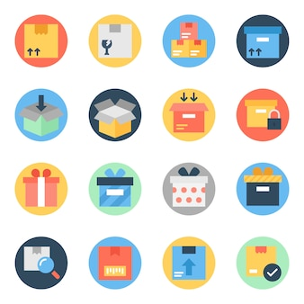 Pakete flache abgerundete icons pack