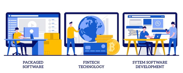 Paketierte software, fintech-technologie, system-software-entwicklungskonzept mit kleinen leuten. geschäftsanwendungen festgelegt. zahlungsabwicklung, datenbankintegration.