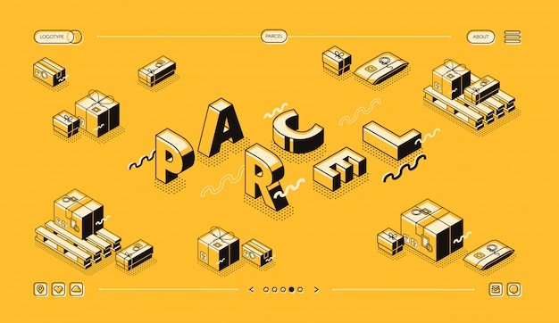 Paketlieferungs- und beitragslogistikillustration in der dünnen linie wortbuchstaben entwerfen.