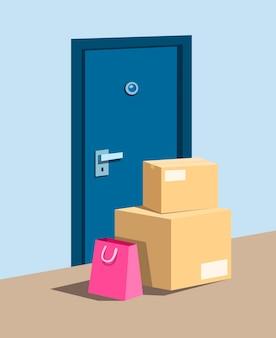 Paketpaket und einkaufstasche in der haustür, symbol für online-einkaufszustellung und bewusstsein vom paketdiebstahlkonzept in der karikaturillustration