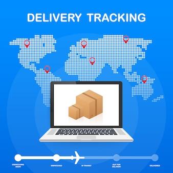 Paketverfolgungswebsite auf laptopschirm