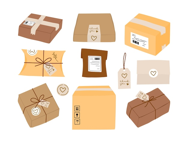 Paketversandbox und umweltfreundliche geschenkverpackung mit etikettenaufkleber und dankeskartensammlung.