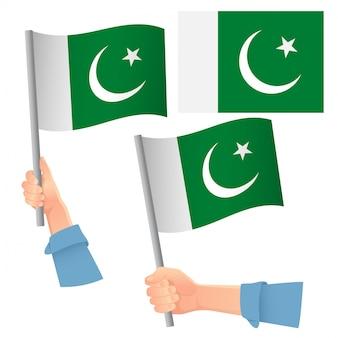 Pakistan flagge in hand gesetzt