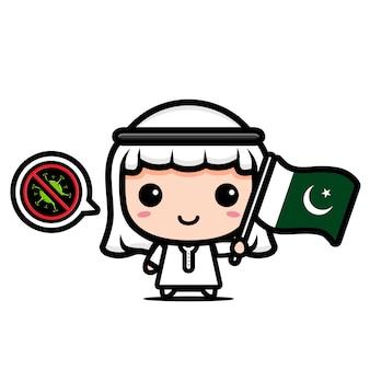 Pakistanischer junge mit flagge gegen virus