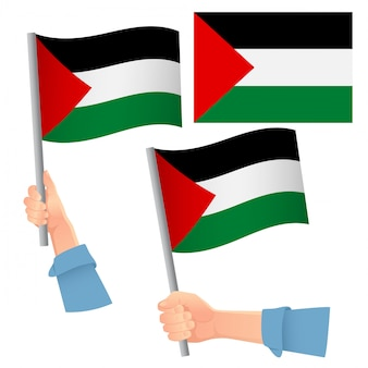 Palästina flagge in hand gesetzt